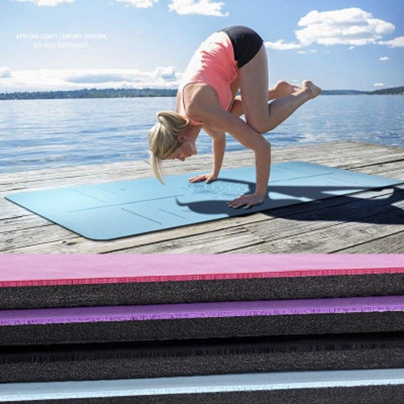 ТПЭ коврики для йоги с линией тела Нескользящая безвкусная Гимнастика Пилатес Упражнения спортивные подкладки для фитнеса и бодибилдинга
