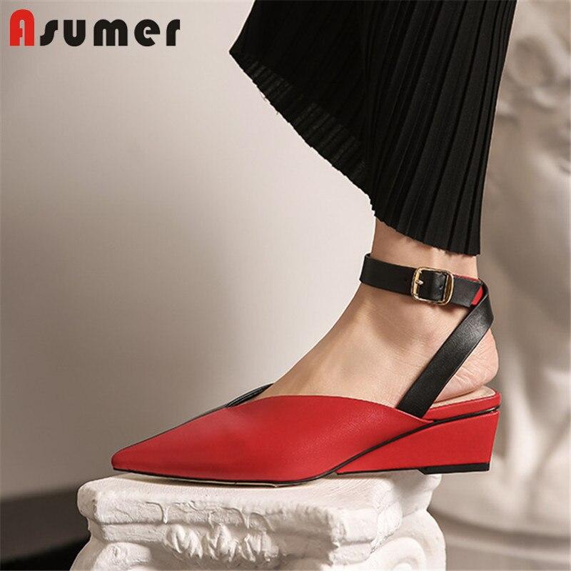 ASUMER 2020 plus récent en cuir véritable sandales femmes couleur mixte bout pointu boucle robe d'été chaussures de fête femme sandales à talons compensés