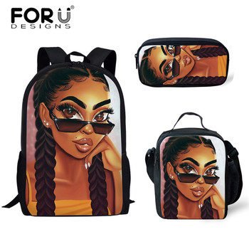 FORUDESIGNS Girls School Bags African Black Girls Hairstyle School Backpack Set Scool Bag For Girl Kids Girl Backpack Junior Bag 35
