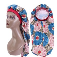 New Long Bonnet Satin Silky Bonnet For Women Night Sleep Cap Hair Care Sock Hat African Pattern Print Turban Chemo Cancer Hat