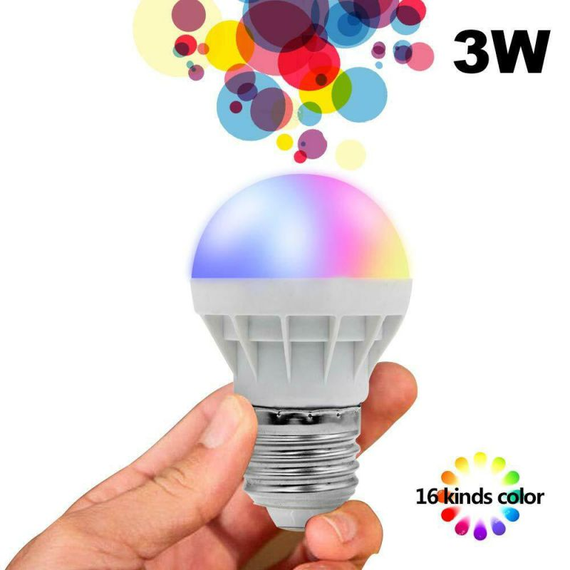 Energy saving 16 Color Changing Magic Light E27 3W RGB LED Lamp Bulb Infrared Remote Control Light Bulb in LED Night Lights from Lights Lighting
