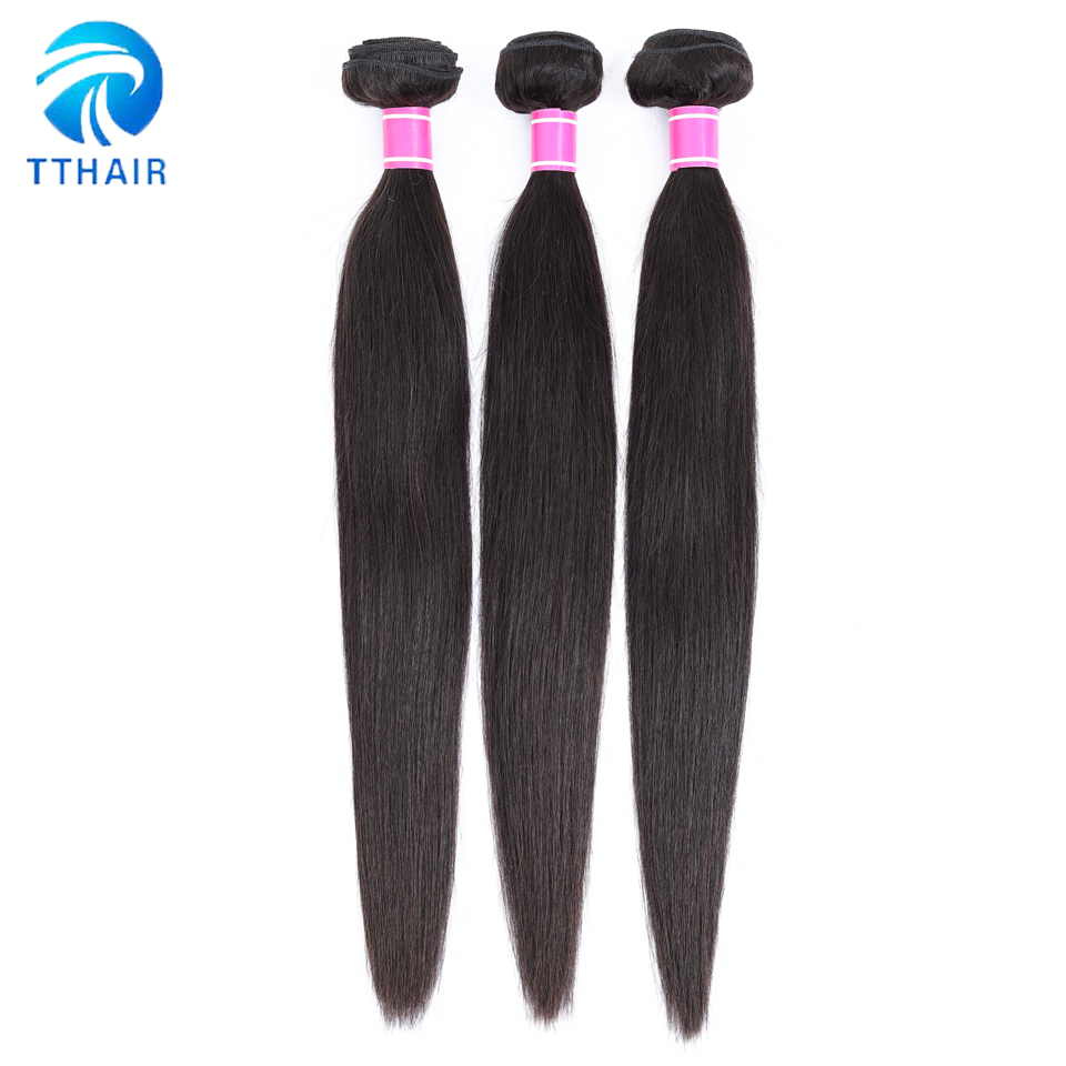Image 3 - TTHAIR Straight Hair Bundles With Closure Remy Peruvian Hair Weave Bundles Human Hair Extension 3 Bundles With Closure-in 3/4 Bundles with Closure from Hair Extensions & Wigs