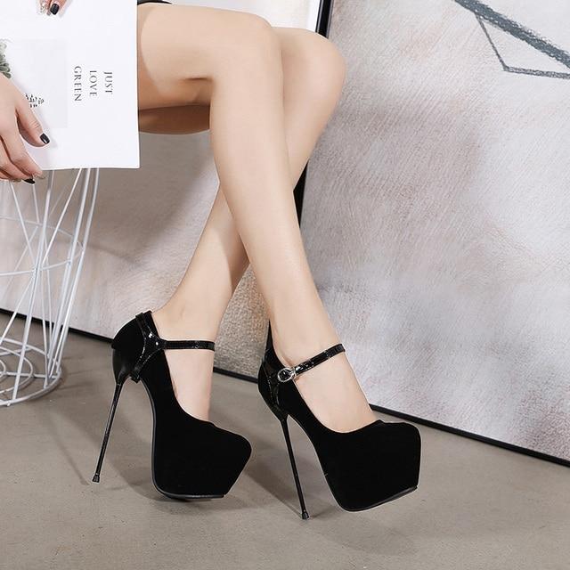 New Classic Suede Black High Heel Womens Pumps 16 Cm High Heels Dress Shoes