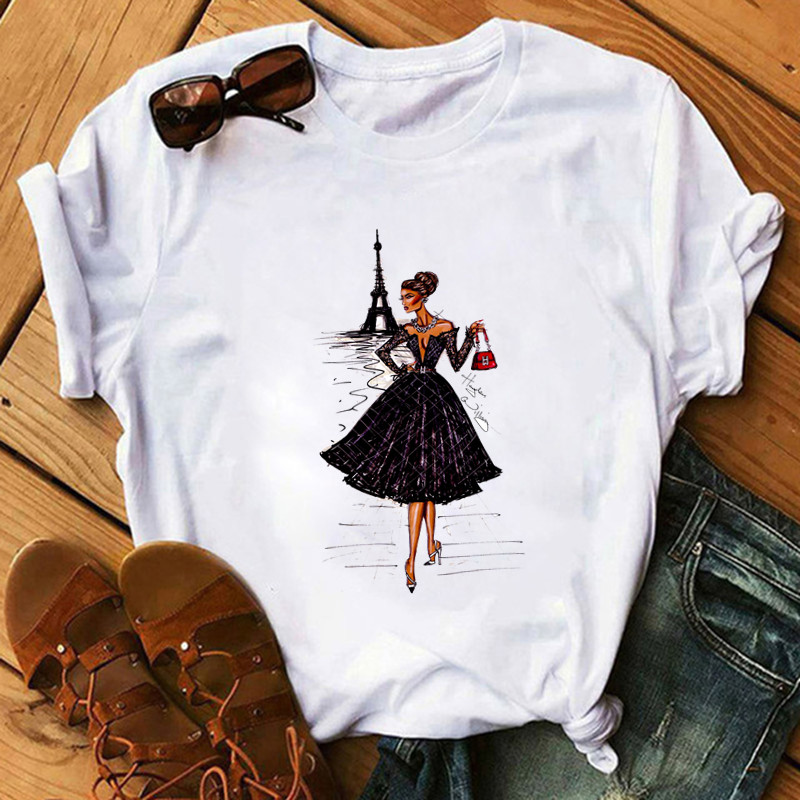 Vintage Fashion Women Ladies Paris Printing Girl T Shirt Summer Fashion Women Casual Tops Hipster Cool Ladies Tee