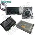 Worm Versnellingsbak RV030 Snelheidsreductiemiddel Ratio 5:1 ~ 80: 1 + Nema23 Stappenmotor 112MM 3NM + 5.6A Drive DM556 + 200W Voeding kit