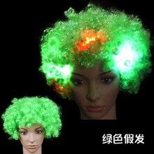 Светящийся головной убор шляпа взрывчатка голова парик светодиод вспышка головной убор клоун парик вентиляторы принадлежности взрослый вечеринка представление зеленый