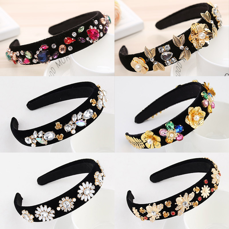 Women Retro Floral Rhinestone Headband Ladies Pearl Crystal Hairband For Girls Barlot Style Headwear Wedding Hair Accessories