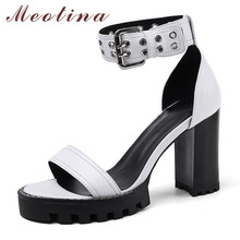 Meotina Summer Sandals Shoes Women Natural Genuine Leather Thick Heel Ankle Strap Shoes Buckle Super High Heel Sandals Lady 4-10 new genuine leather buckle strap women sandals high heel thick heel metal studded shoes women party
