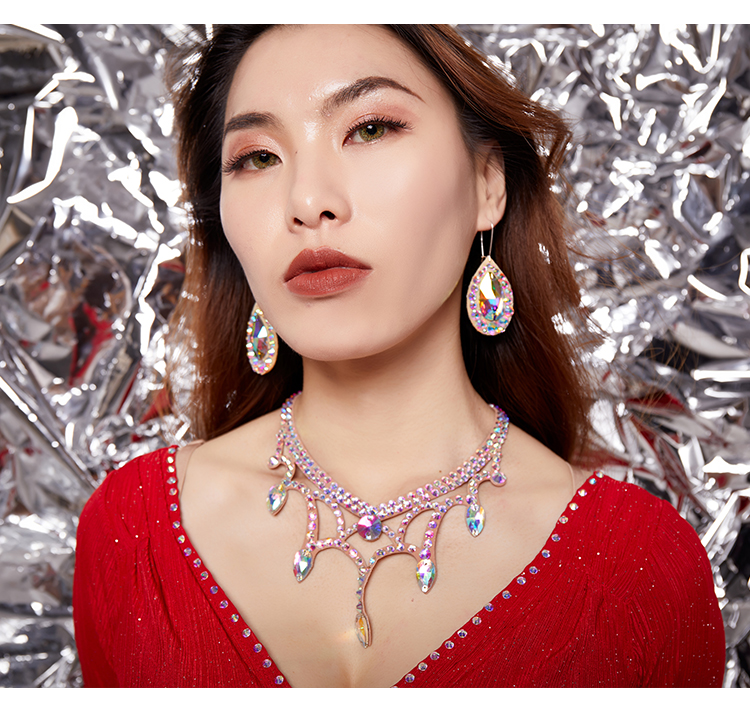 Women New Belly Dance Competition Stage Earrings Shiny Diamond Eardrops Oriental Indian Dancing Performance Accessories