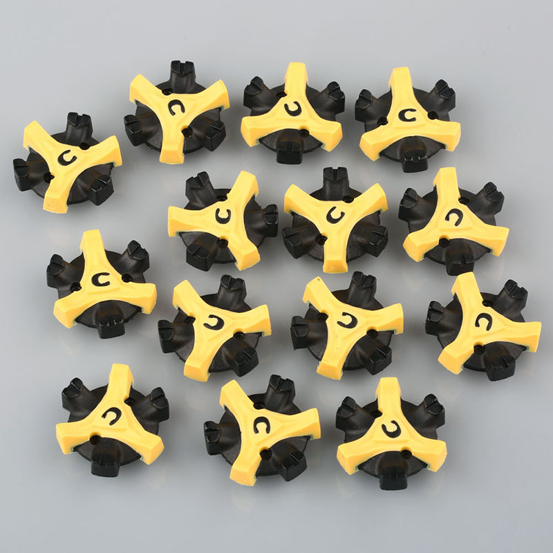 Replacement Shoe Cleats Golf Fast For Foot Joy Black + Yellow 2.8*2.8cm 14pcs TPU Tri-Lok Best Useful image