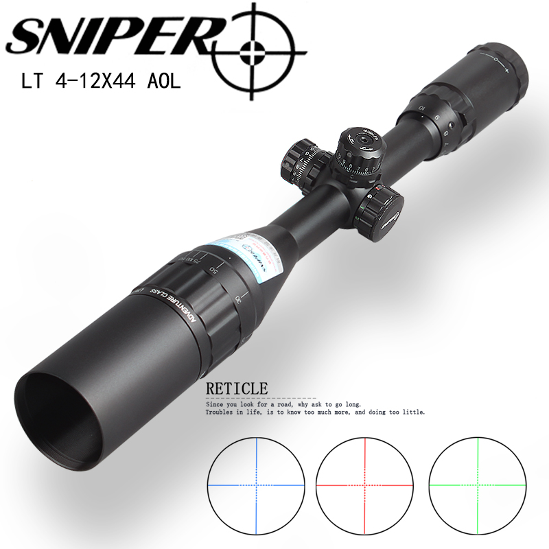 SNIPER 4-12X44 AOGL Hunting Riflescopes Tactical Optical Sight Full Size Glass Etched Reticle RGB Illuminated Rifle Scope