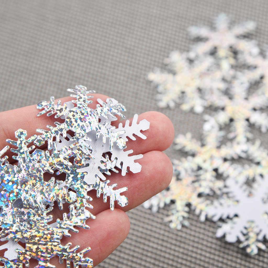 100 piezas oro plata tela Navidad copo de nieve confeti Artificial Navidad familia boda fiesta decoración 4cm