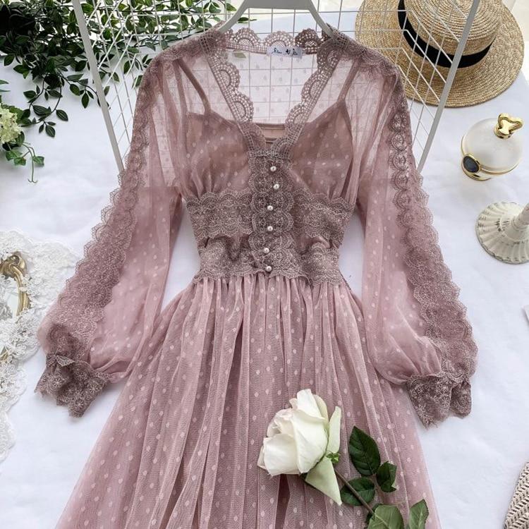 Lace Floral V-Neck Long Sleeve Polka Dot Dress 33