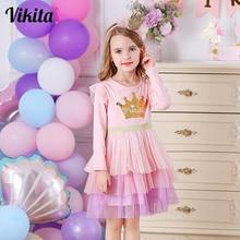 VIKITA Kids Princess Dress for Girl Children Tutu Mesh Dress Kids Reversible Sequins Girl Crown Pattern Children Autumn Clothing