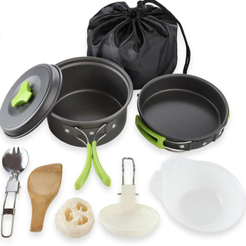 Portable Camping Tableware Cooking Set Outdoor Cookware Pan Pot Bowl Spoon Fork Utensils For Hiking Picnic Travel Wild Campismo widesea camping cookware titanium tableware tourist pot outdoor cooking kitchen picnic utensils backpack hiking trekking