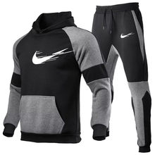 Conjuntos de treino dos homens outono inverno com capuz moletom drawstring outfit 2020 masculino terno pulôver duas peças conjunto casual