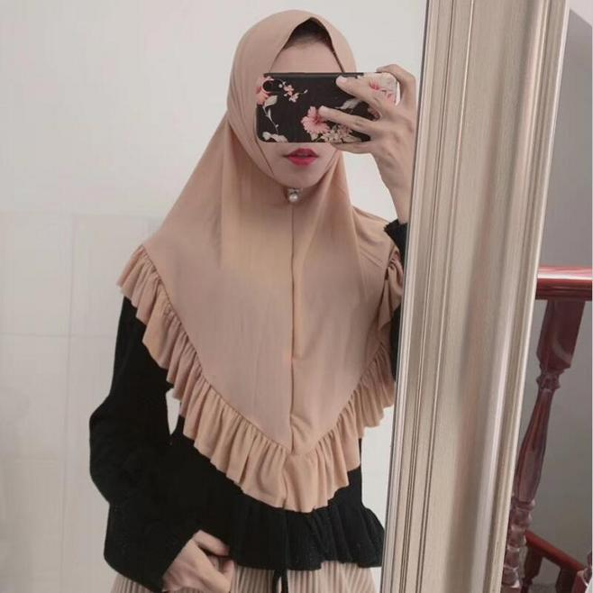 Fashion Women's One Piece Amira Instant Hijab With Lotus Ruffled Ready To Wear Soft Head Wrap Muslim Headscarf Pull On Headwear