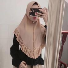 Mode Vrouwen Een Stuk Amira Instant Hijab Met Lotus Ruches Klaar Te Dragen Zachte Hoofd Wrap Moslim Hoofddoek Pull op Hoofddeksels