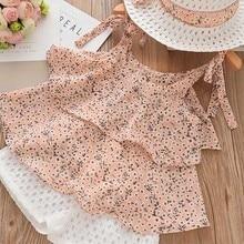 Kids Clothing-Sets Shorts Straw Floral Bear Leader Girls HALTER Chiffon Embroidered