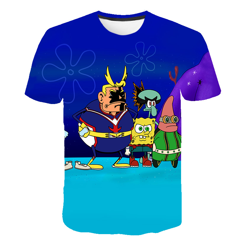 2020 Summer New High Quality 3D Printed Spongebob T Shirt Men Women Summer Short Sleeve Funny Top Tees Fashion Casual Clothing