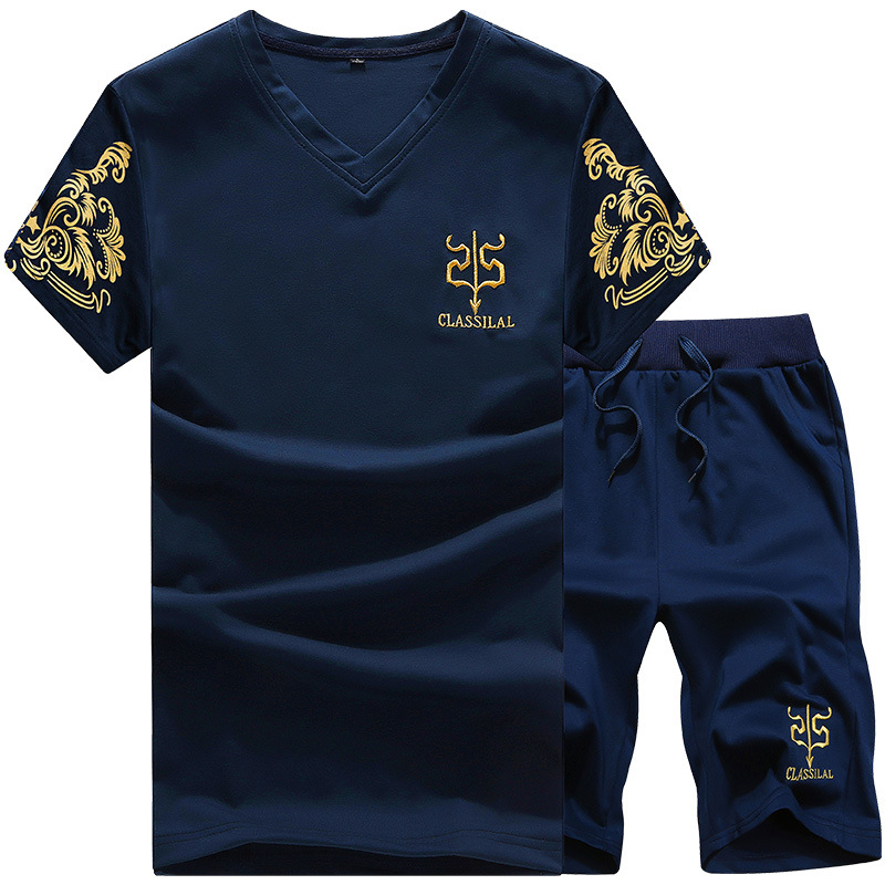 For Men Leisure Sports Suit Men's Summer Printed Sports Clothing Teenager Short Sleeve Two-Piece Set Men'S Wear