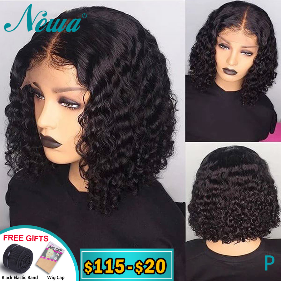 Newa Hair Short Human Hair Bob Wigs Curly Lace Front Human Hair Wigs Pre Plucked With Baby Hair 13x6 Brazilian Remy Hair Wig150%