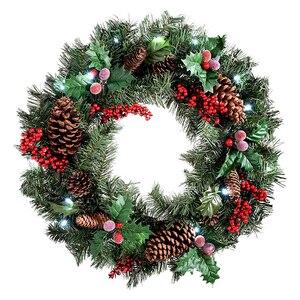Рождественский венок, висящий на двери с морозным клевером, венок, натуральные сосновые шишки, ягоды, декоративная Рождественская гирлянда ...