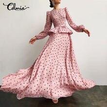 5xl celmia feminino vestidos de festa elegantes 2021 primavera moda polka dot babados camada maxi vestido casual puff manga o-neck vestidos
