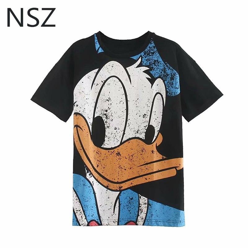 NSZ Women Black Cartoon T Shirt Cotton Short Sleeve Oversize T-shirt Loose Casual Round Collar Summer Shirts Chemise Femme