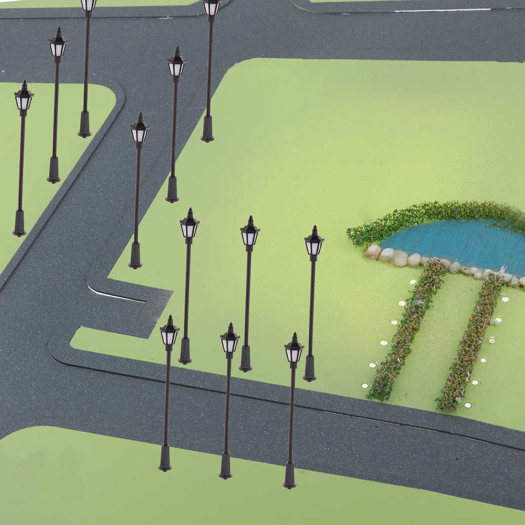 20pc1: 100 Model miniaturowe lampy uliczne HO OO diody led w skali kolejowej słup latarni ogród krajobraz światła uliczne