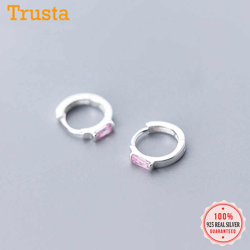 Trusta Real 100% 925 Sterling Silver High Quality Sweet Pink CZ Hoop Earring For Women Wedding Silver 925 Jewelry Gift DS1884