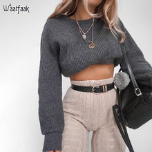 Waatfaak Autumn Winter Sweater Female Knit Pullover Long Sleeve Vintage Sweat Top Korean Crop Sweater Women Casual Basic Fall(China)