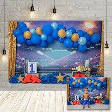 Avezano ילד 1st יום הולדת צילום רקע אגרוף טבעת כחול בלון תינוק מקלחת דיוקן ספורט רקע לצילום סטודיו