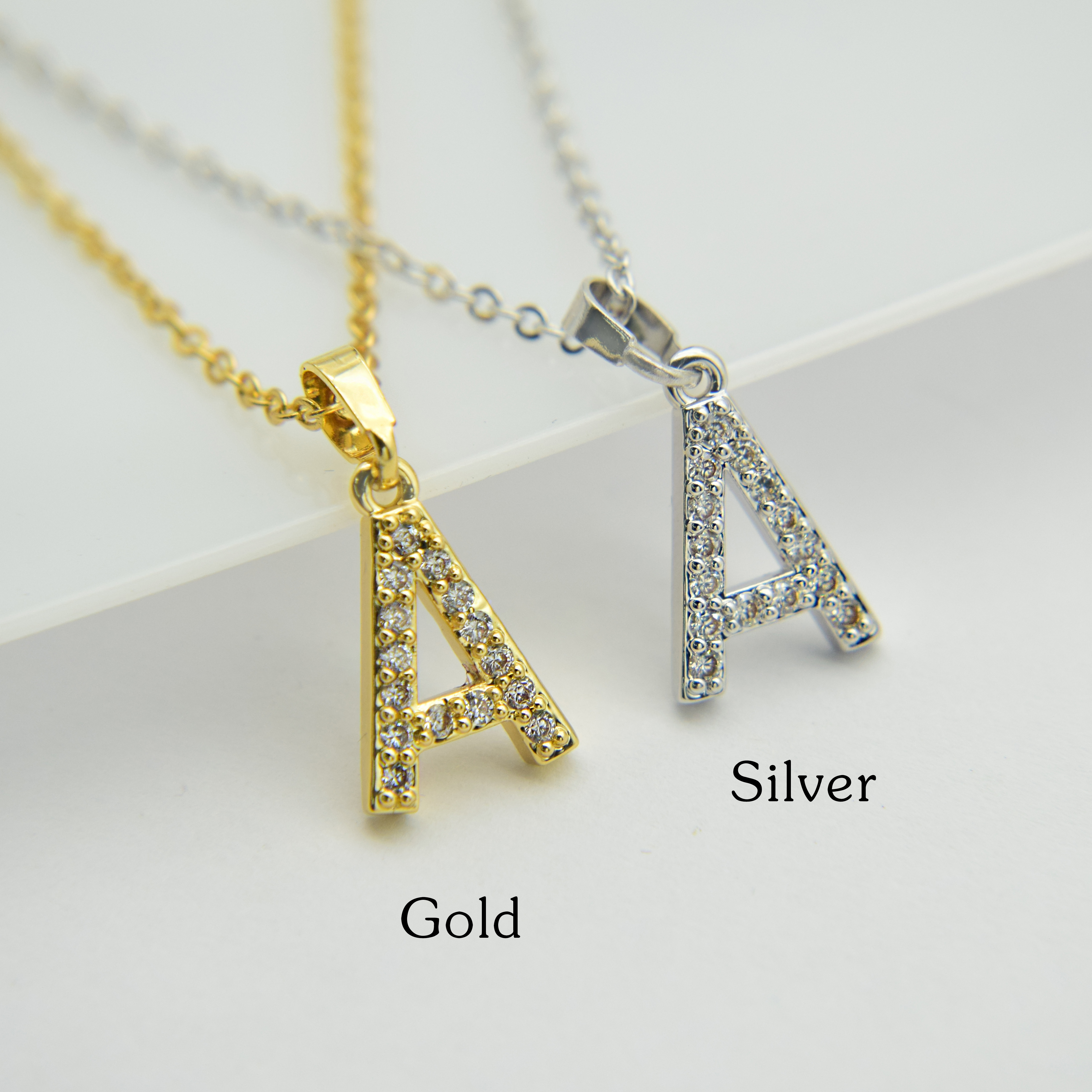 Cubic Zircon Alphabet Pendants Gold Silver Color Copper Mini A-Z Letter Pendant Necklace Shinning 26 Initial Collares Jewelry 3