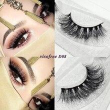 Visofreeขนตา 3D MinkขนตายาวขนตาMinkธรรมชาติDramatic Volume EyelashesขนตาปลอมD08