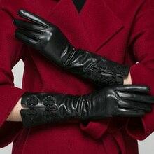 Real Leather Gloves Female Winter 35cm Long Style Goatskin Plus Velvet Chinese Wind Lute Buckle Black Womans K818