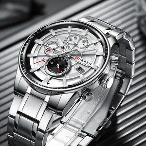 Image 5 - CURREN Marke Männer Sport Uhren Kausalen Edelstahl Band Armbanduhr Chronograph Auto Datum Uhr Männlich Relogio Masculino