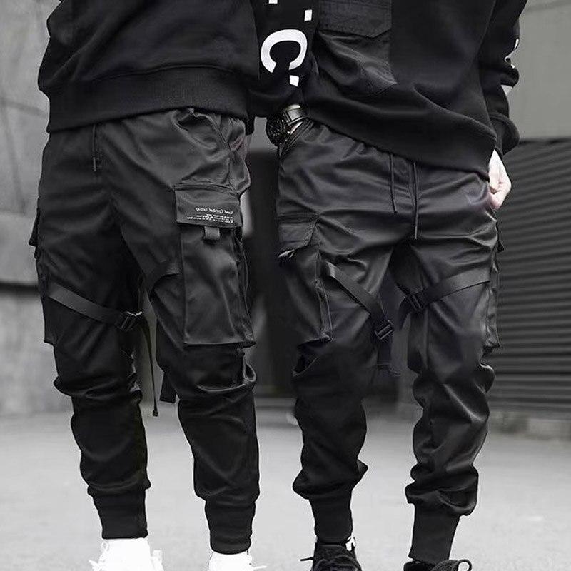 Men Cargo Pants Ribbons Harem Joggers Harajuku Sweatpant Hip Hop Trousers XRQ88