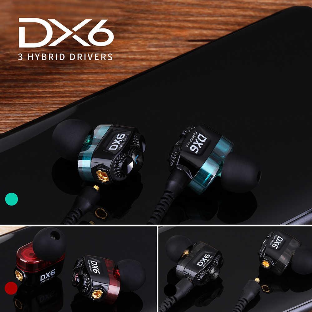 Plextone DX6 Auricolare bluetooth Tre Unità di 3.5 millimetri In-Ear Auricolari Sport Stereo Bass HIFI Auricolare Con Cavo Con MMCX Cavo Per xiaomi