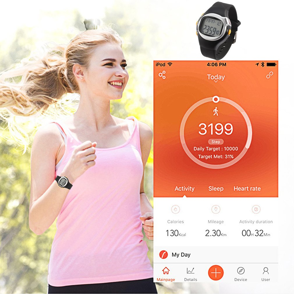 Monitor Watch Touch-Sensor Black-Color Counter Pulse-Heart-Rate OUTAD 6-In-1 Exercise