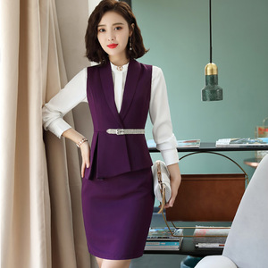 Clearance IZICFLY New Style Purple Ladies Suits For Office Skirt And Tops Waistcoat Uniform Skirt Suit Work Wear Plus Size Suits With Vest — wickedsick