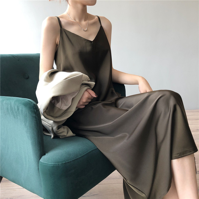 New Arrival Women V-Neck Sleeveless Women Dress Y5702 Vintage Satin Summer Long Dress Boho Elegant Women Casual Dress Vestidos (10)