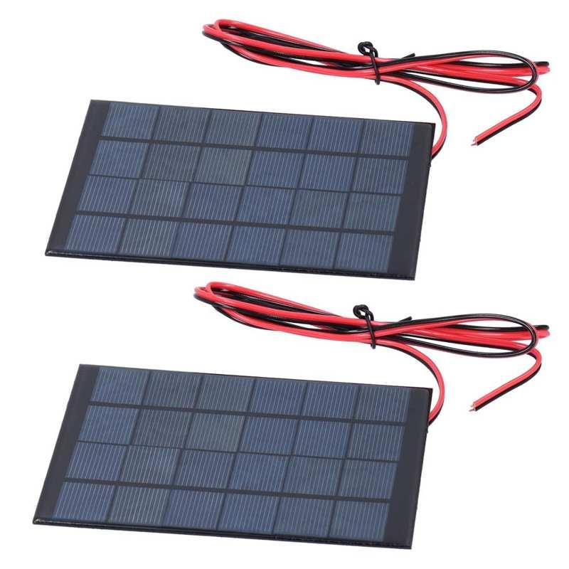 Dutiful 2pcs Dc 6v 2w Mini Solar Power Module Epoxy Panel With 100cm Cable Electronic Accessories