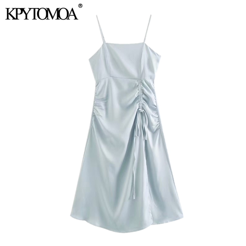 KPYTOMOA Women 2020 Chic Fashion Lace-up Pleated Midi Dress Vintage Backless Zipper Thin Straps Cozy Female Dresses Vestidos