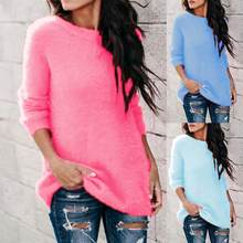 Fashion Chic Women Sweaters and Pullovers Plus Size Autumn Winter Solid Color O Neck Long Sleeve Knitwear Basic Sweater fall(China)