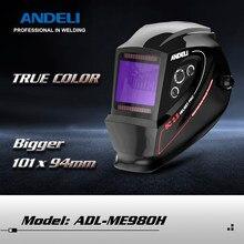 Andeli capacete de soldagem ADL-M1000H grande visão verdadeira cor energia solar escurecimento automático máscara de soldagem para tig mig arco solda moagem corte