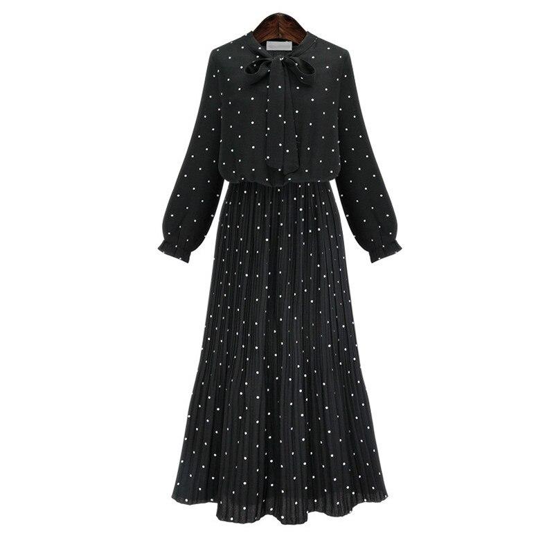 2019 New Spring  Round Neck Long Sleeve Solid Black Chiffon Dot Loose Big Size Dress Women Fashion Tide JA23601M