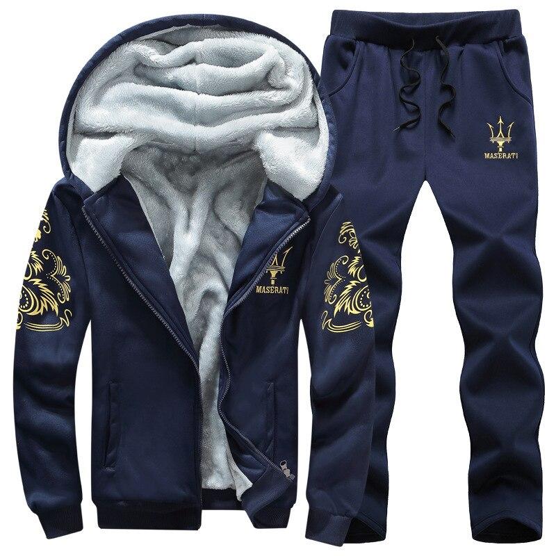 Men's 2020 Winter Velvet Thickening Sports Keep Warm Printing Fitness 2-piece Set Plus Size 8XL9XL Male Running Sport Suit