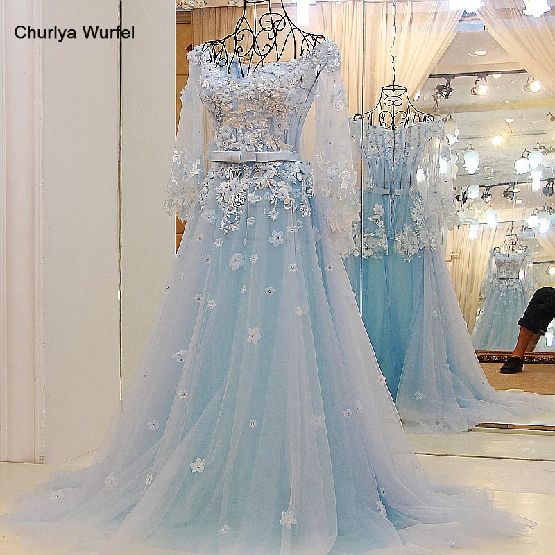 LS65441 Women Long Dress Evening Party Sweetheart Floor Length Long Evening Prom Dress With Flowers Light Blue 100% Real Photo