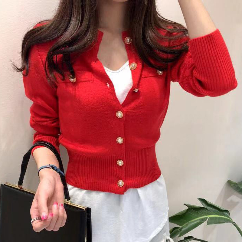 Zoki New 2020 Women Cardigan Sweater Fashion Spring Knitted Long Sleeve Short Coat Chic Korean Slim Button Ladies Soft Tops